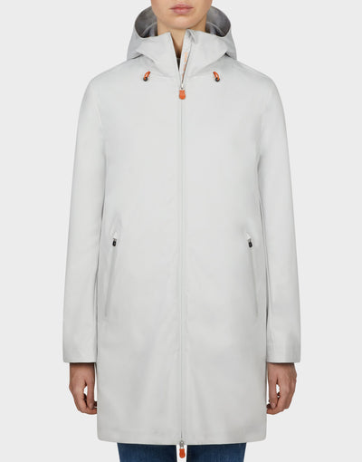 Womens BARK Hooded Coat Coconut White