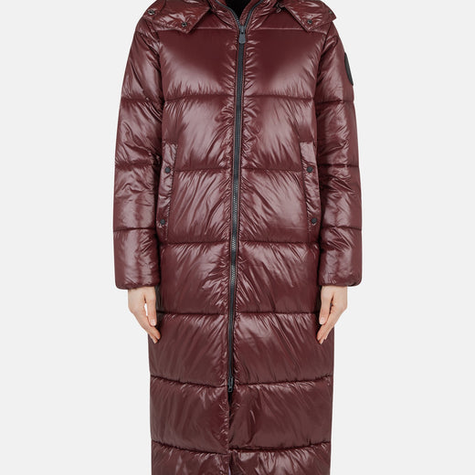 Womens Hooded Maxi Puffer Long Coat in LUCK