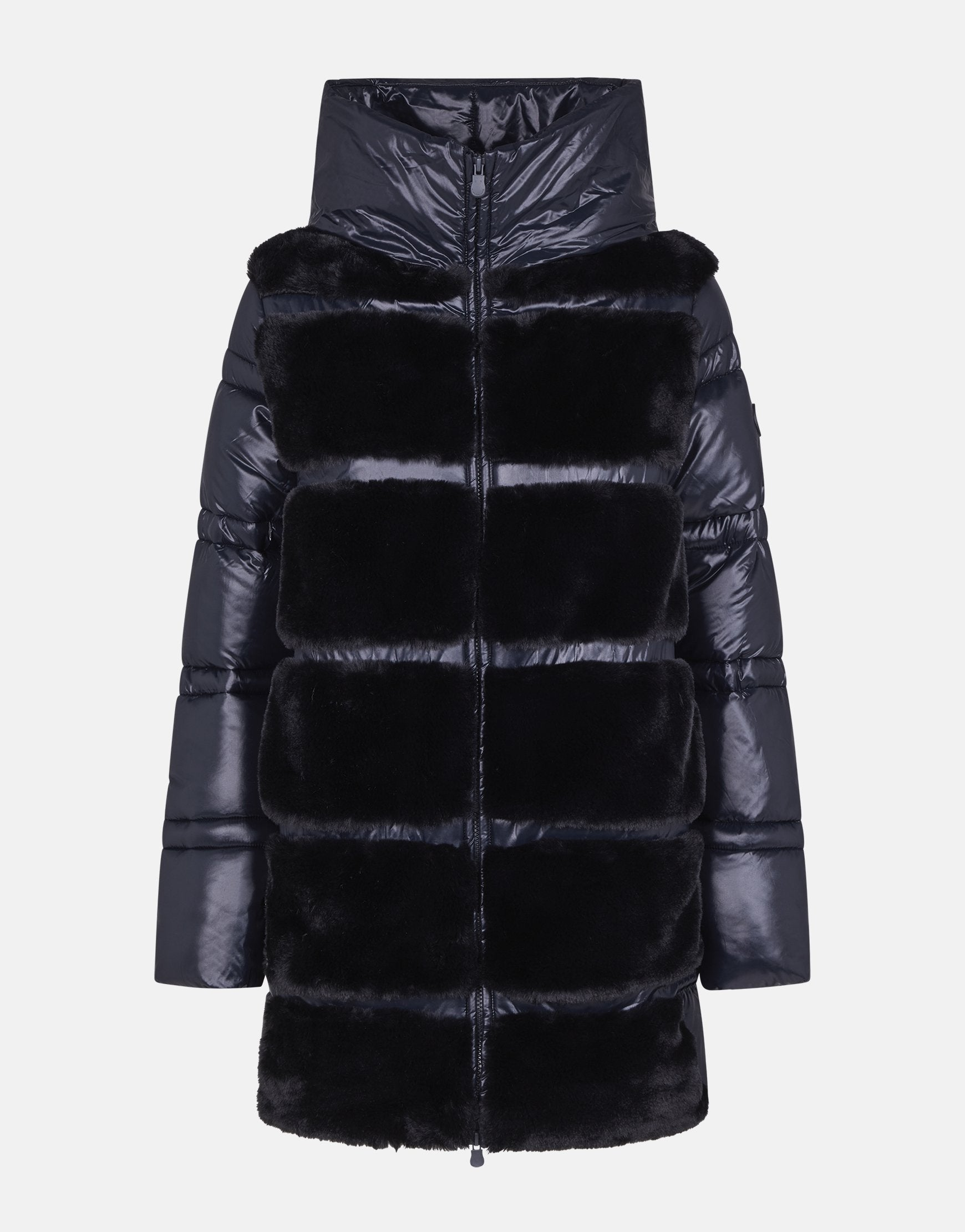 Womens Hooded Coat in FURY with Faux Fur