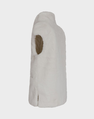 Womens FURY Faux Fur Vest in Off White