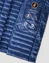 Womens IRIS Long Puffer Vest en Space Blue