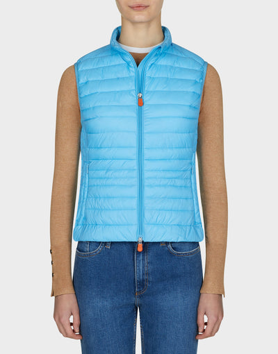 Womens GIGA Puffer Vest in Ethereal Blue