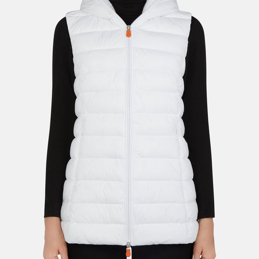 Save The Duck Women's SOLD Hooded Vest with Faux Lambskin Lining