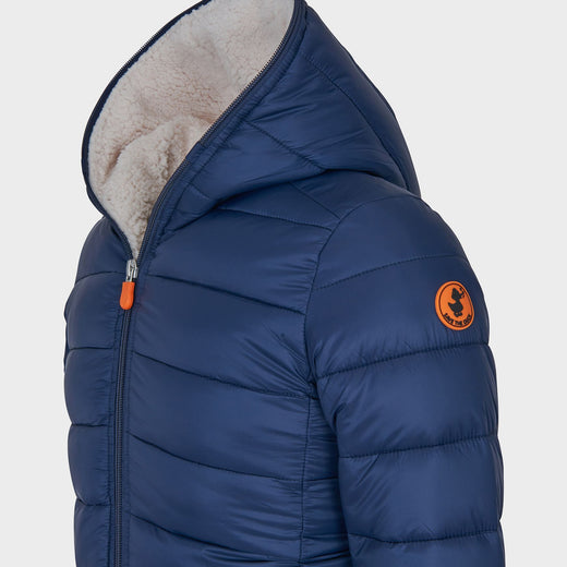 Boys GIGA Hooded Jacket with Faux Sheepskin in Navy Blue