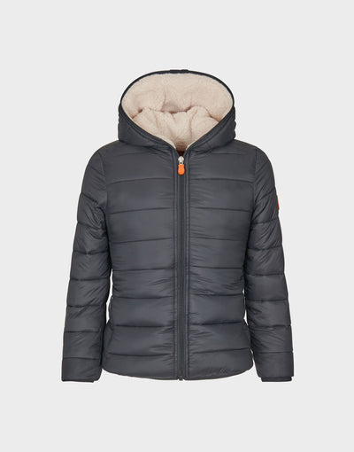 Girls GIGA Hooded Quilted Jacket in Grey Black