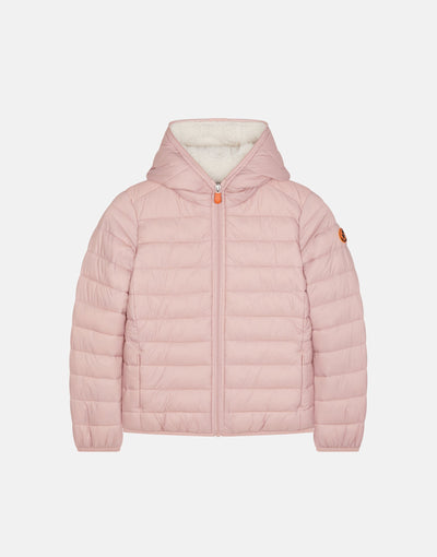 Save The Duck Girl's GIGA Hooded Jacket with Faux Sherpa Lining