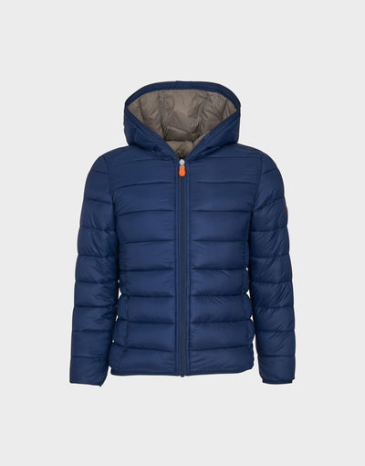 Boys GIGA Hooded Quilted Jacket in Navy Blue
