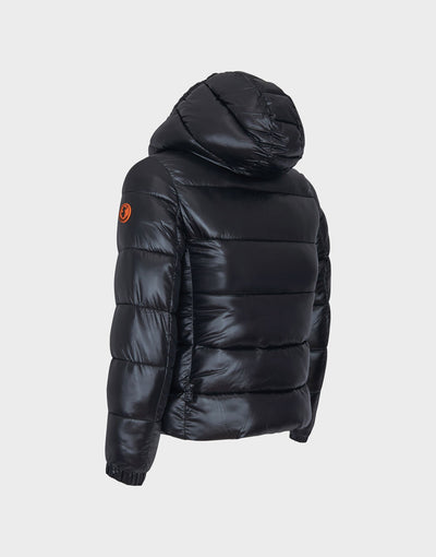 Girl's Sleek Hooded Puffer Jacket In Black