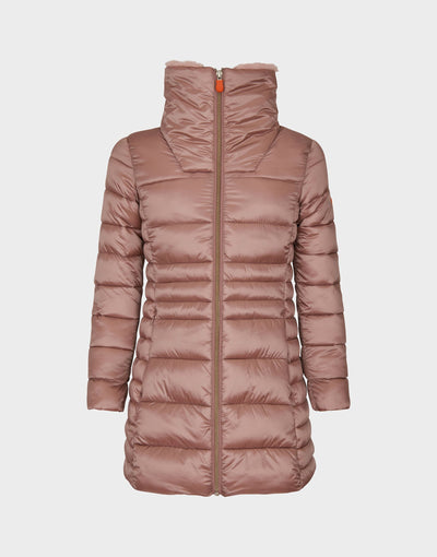 Girls IRIS Faux Fur Collar Coat in Misty Rose