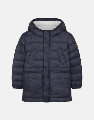 Save The Duck Boy's GIGA Hooded Coat with Faux Sherpa Lining