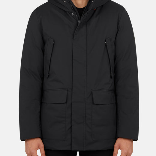 Mens Hooded Parka in SMEG with Foldable hood