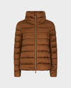 Women's IRIS Raised Collar Jacket in Cognac Brown