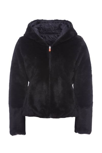Reversible Women's Faux Fur Jacket in Black