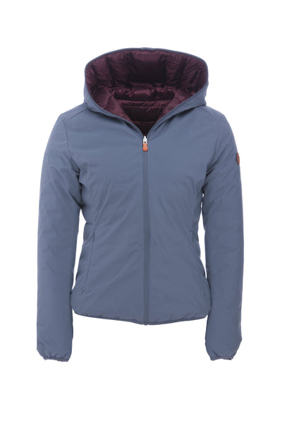 Reversible Women's Hooded Jacket in Space Blue