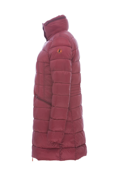 Women's Hooded Coat in Burgundy