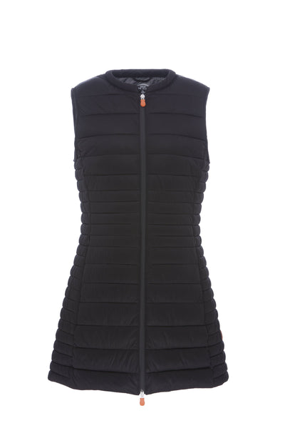 Womens ANGY Stretch Sleeveless Coat in Black
