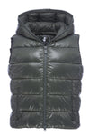 Womens Sleek Hooded Vest in Deep Green