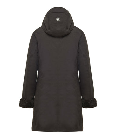 Women's Hooded Coat with Faux Fur Lining in Black