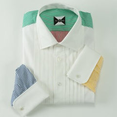 The Nantucket Primary Stripe Tuxedo Shirt - Custom Tux Shirt