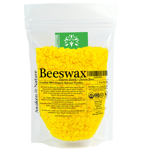 Awaken Nature's USDA CERTIFIED 100% Organic Yellow Beeswax Pellets