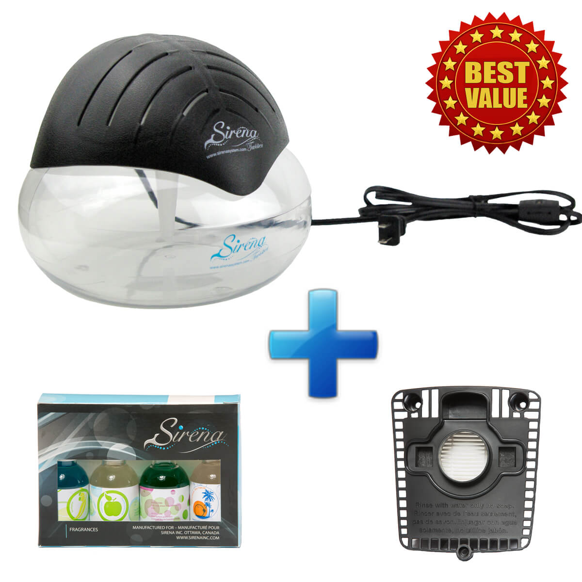 Sirena Twister (Black) + Sirena Fragrance Pack + Replacement HEPA Filter (BUNDLE)