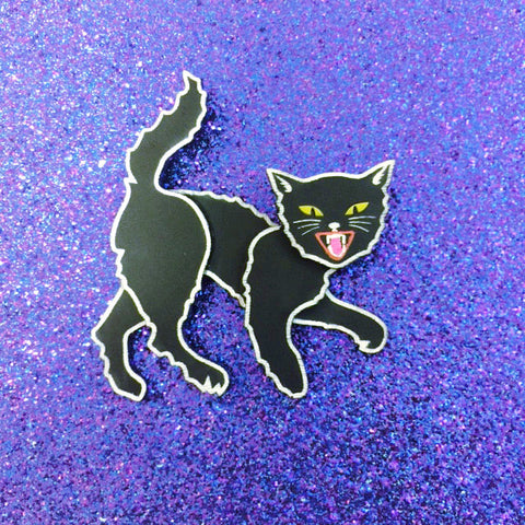 Vintage Halloween scared cat brooch