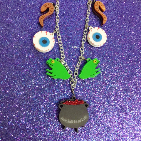 """Double Double Toil and Trouble"" Halloween charms necklace"
