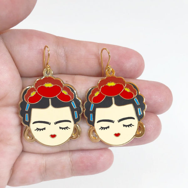 Frida enamel earrings