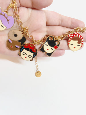 Dolls enamel charms necklace (set 1)