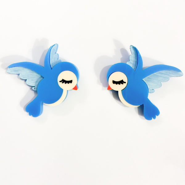 Bluebirds brooch set