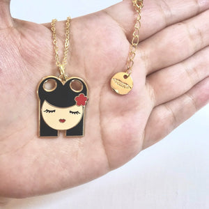 Ava enamel pendant necklace
