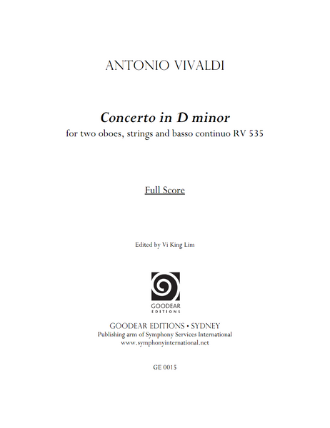 VIVALDI, A. - Concerto in D minor RV 535 (print edition)