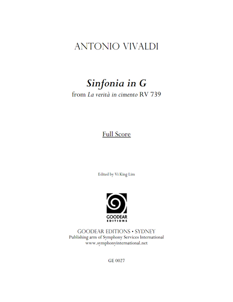 VIVALDI, A. - La verità in cimento: Sinfonia (digital edition)