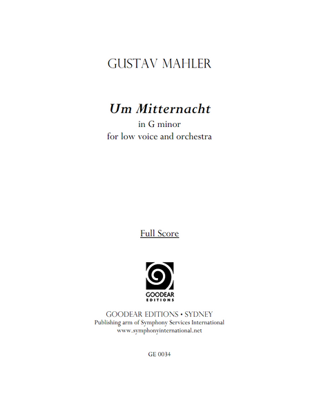 MAHLER, G. - Um Mitternacht (G minor) (digital edition)
