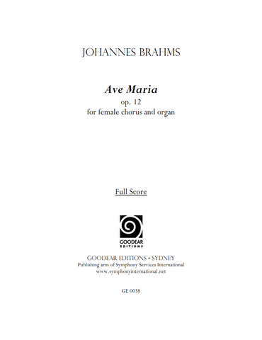 BRAHMS, J. - Ave Maria (digital edition)