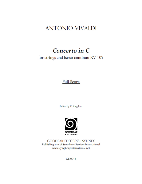 VIVALDI, A. - Concerto Ripieno in C major RV 109 (digital edition)