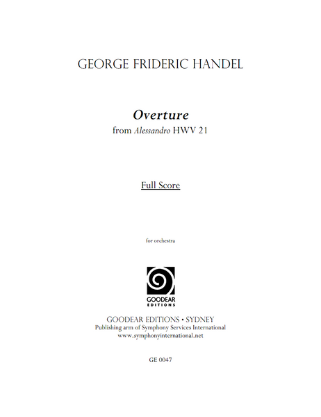 HANDEL, G. - Alessandro: Overture (print edition)