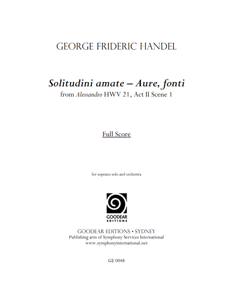 HANDEL, G. - Alessandro: Solitudini amate - Aure, fonti (digital edition)