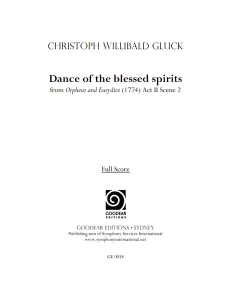 GLUCK, C. - Orpheus and Eurydice: Dance of the Blessed Spirits (digital edition)