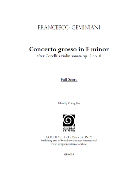GEMINIANI, F. - Concerto Grosso in E minor (print edition)