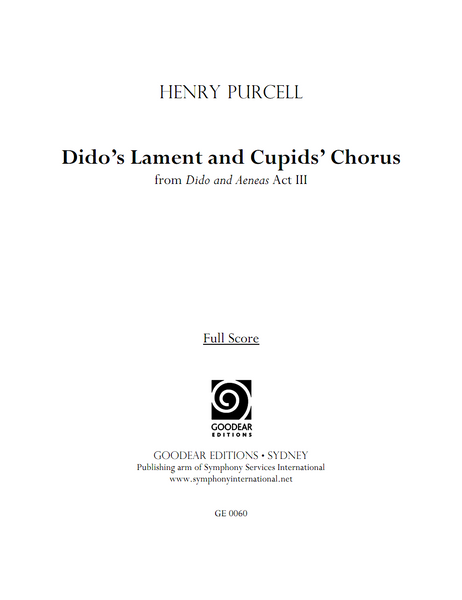 PURCELL, H. - Dido and Aeneas: Dido's Lament and Cupids' Chorus (print edition)