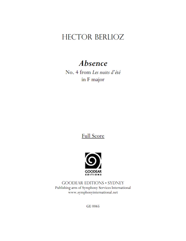 BERLIOZ, H. - Absence (in F) (digital edition)
