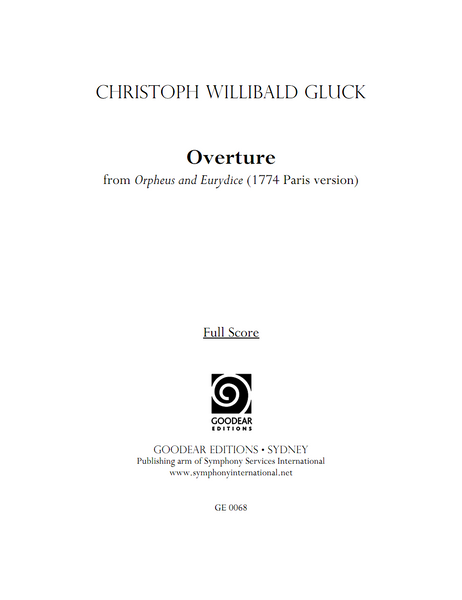 GLUCK, C. - Orpheus and Eurydice: Overture (digital edition)