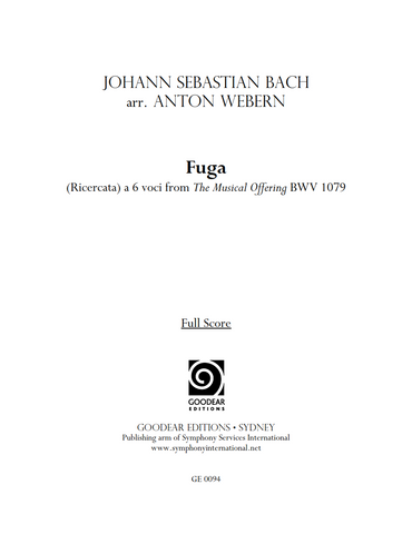 BACH, J. S. arr. WEBERN, A. - The Musical Offering: Fuga (Ricercata) a 6 voci (print edition)
