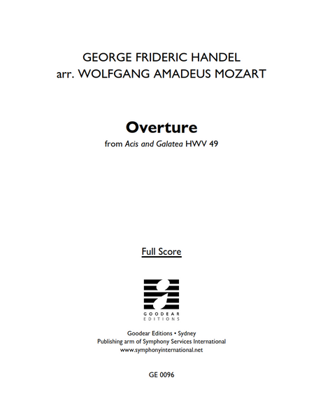 HANDEL, G. arr. MOZART, W. - Acis and Galatea: Overture (digital edition)