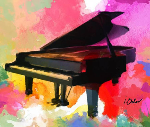 "Colorful Piano Large Canvas Art Print, Extra Large Piano Canvas Art up to 60"", C"