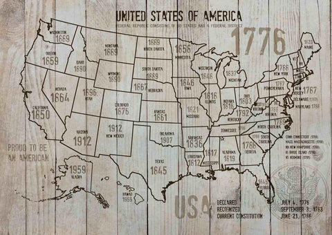 "Map of USA 1776-3. Canvas Print by Irena Orlov 24"" X 36"", large canvas art print"