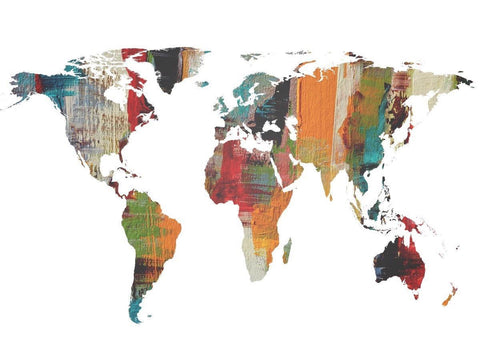 Painted World Map II. Large Canvas Art Print. Large Wall Art for Home. Abstract