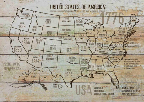 "Map of USA 1776-10. Canvas Print by Irena Orlov 24"" X 36"", large canvas art prin"