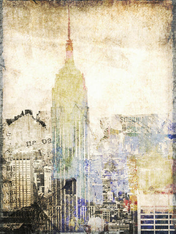 New York City, Empire State Building II. Canvas Print - Brush texture gel coatin